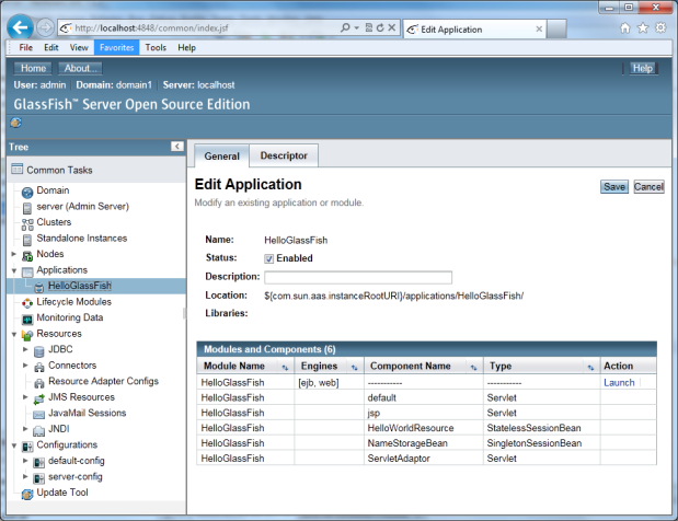 GlassFish's browser-based Domain Admin Console