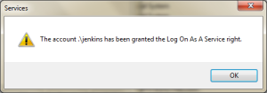 Log On Account for Jenkins Windows Service Granted
