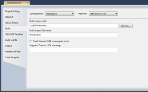 New Production Configuration Build Settings for Database Project