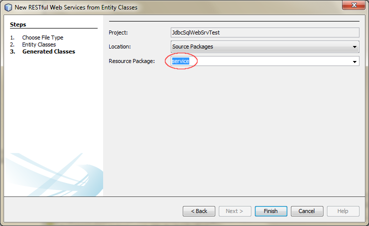 Creating New RESTful Web Service from Entity Classes - 03