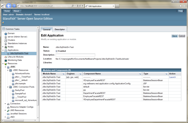GlassFish 02 - New Application Deployed to GlassFish