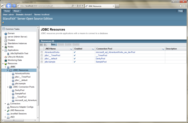 GlassFish 03 - New Datasource (Resource) Deployed to GlassFish