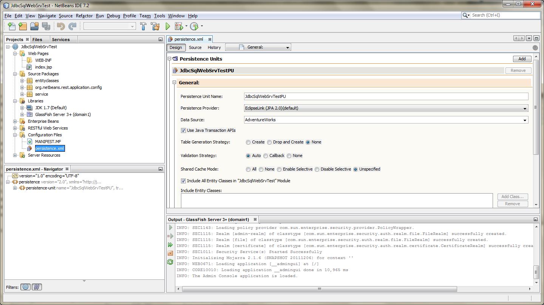 JPA Configuration - Design View (persistence.xml)