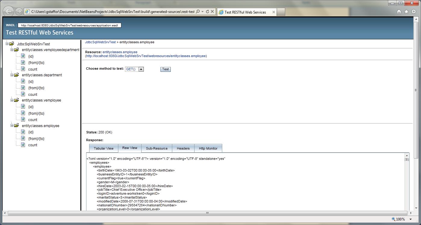 Test RESTful Web Service in NetBeans - 04