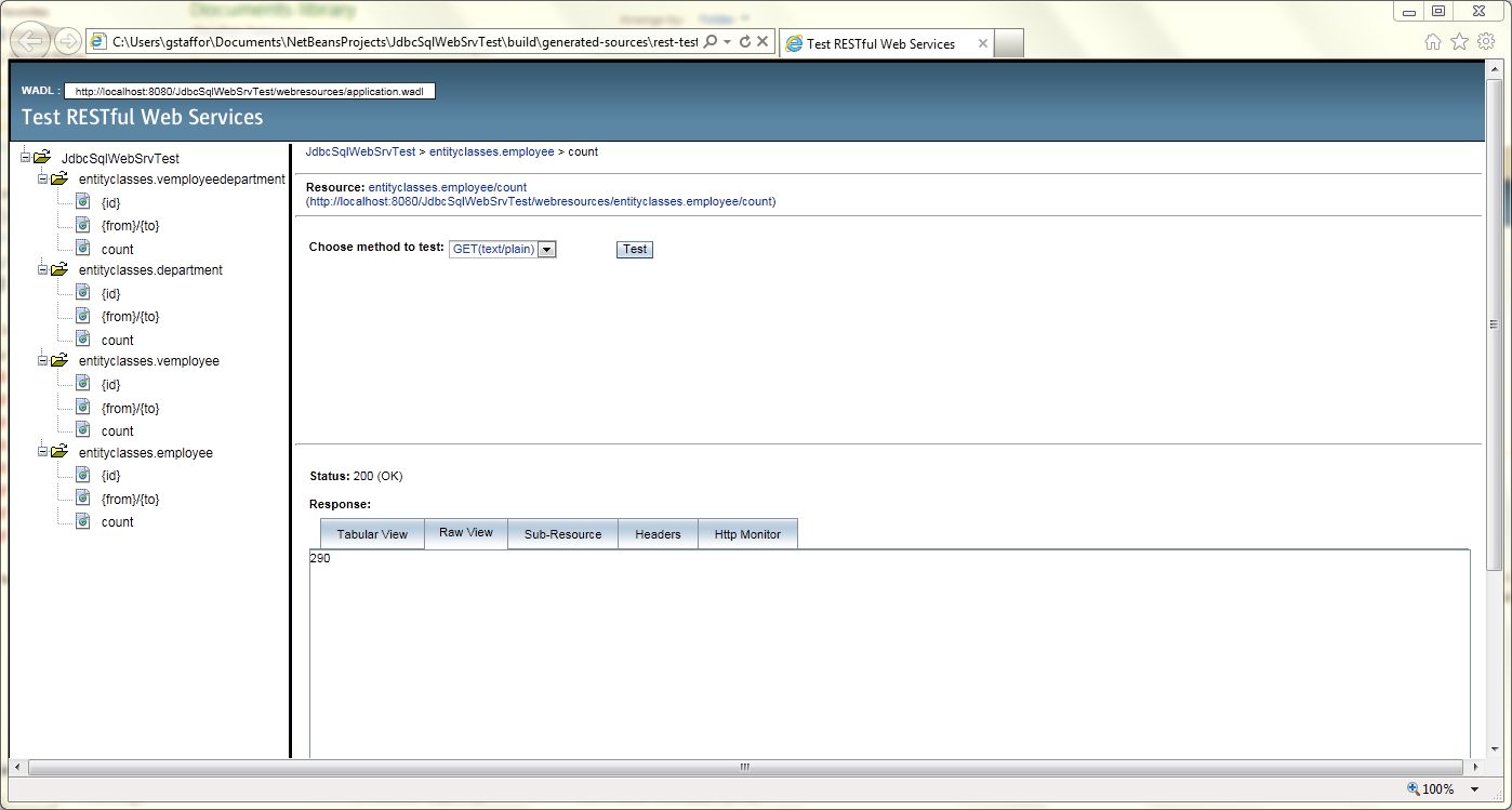 Test RESTful Web Service in NetBeans - 06