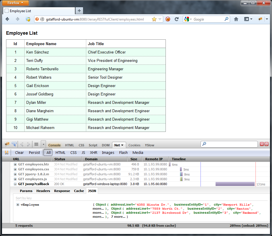 Employee List Displayed by Client Application in Firefox (showing JSON in Firebug)