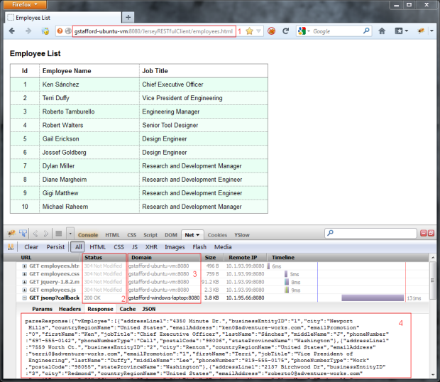 Employee List Displayed by Client Application in Firefox (showing Raw Response in Firebug)