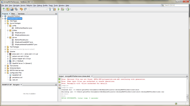 JerseyRESTfulServices Project View in NetBeans