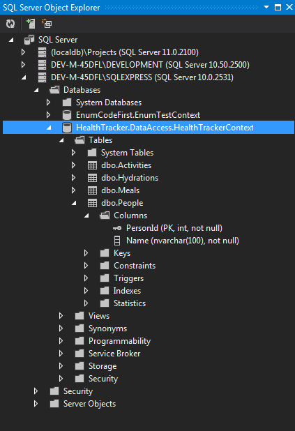 View of HealthTracker SQL Express Database