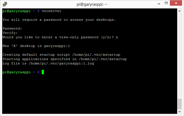 First Time vcnserver Command 1