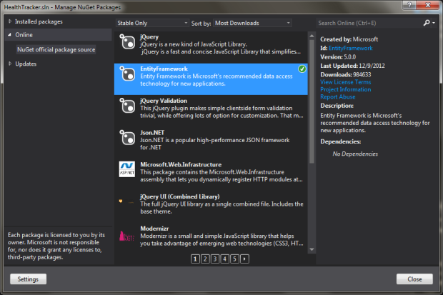 Manage NuGet Packages - Add EntityFramework to Solution
