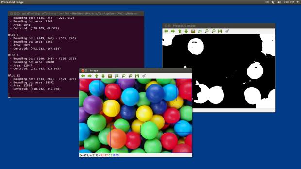 Test 3: Detecting Red Color Range in Static Image using OpenCV and cvBlob (laptop)