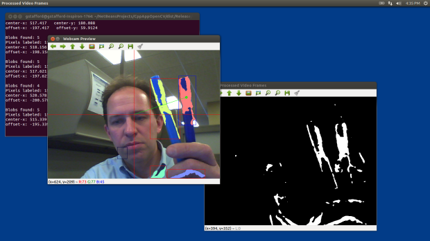Test 5: Detecting Objects within Blue Color Range using OpenCV and cvBlob (laptop)