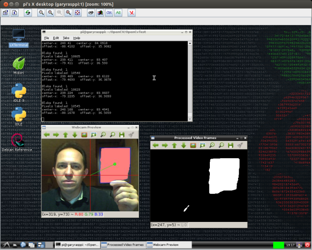 Test 5: Detecting Objects within Blue Color Range using OpenCV and cvBlob (Raspberry Pi)