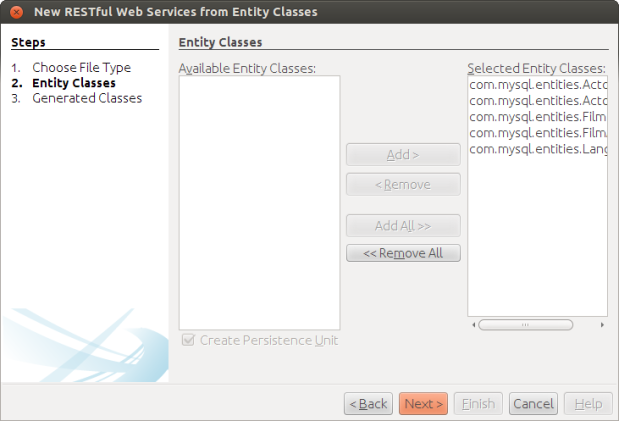 Chosen Entity Classes