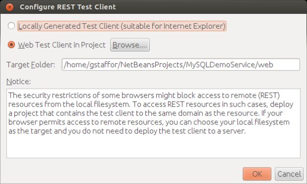 Configuring the REST Test Client