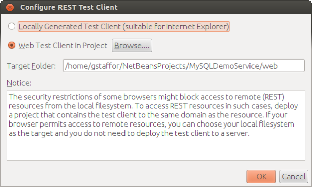 Configuring the REST Test Client