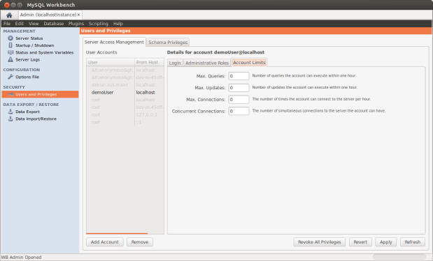 Configuring Demo User Account Limits