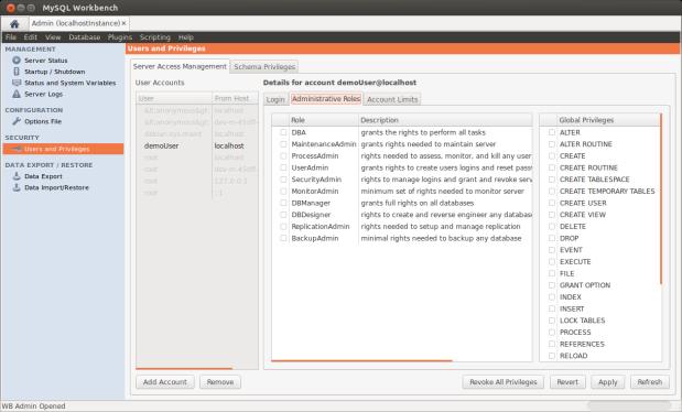 Configuring Demo User Administrative Roles