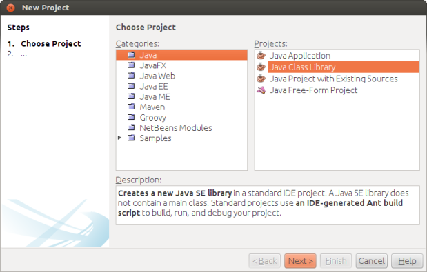 Create New Java Class Library Project