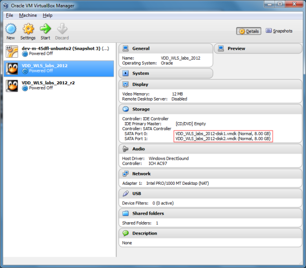 Original VM in VirtualBox Manager Before Resizing