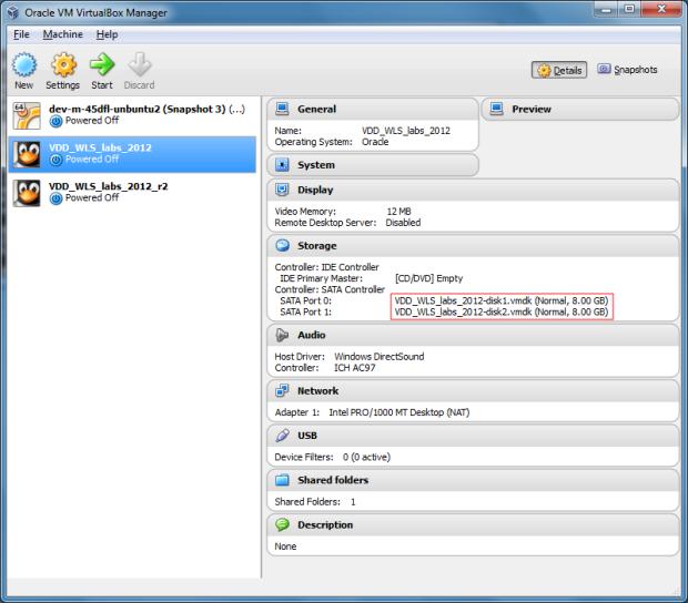 Original VM in VirtualBox Manager Before Resizing