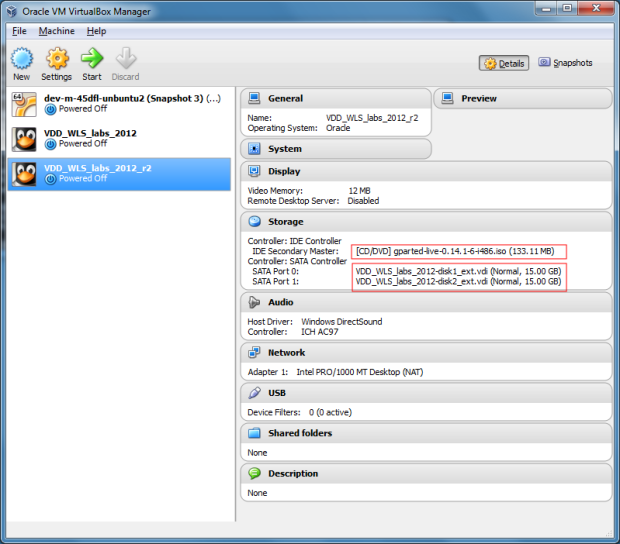 VirtualBox Manager Showing VM with Larger Disks and GParted Live ISO