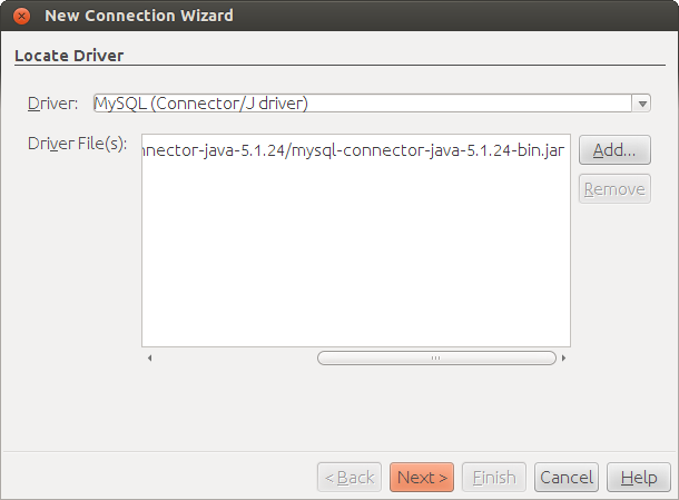 New Connection Wizard - MySQL Driver