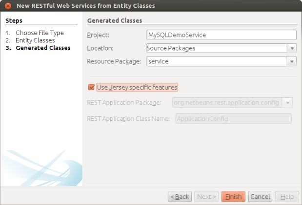 Generating Classes Using Jersey Options
