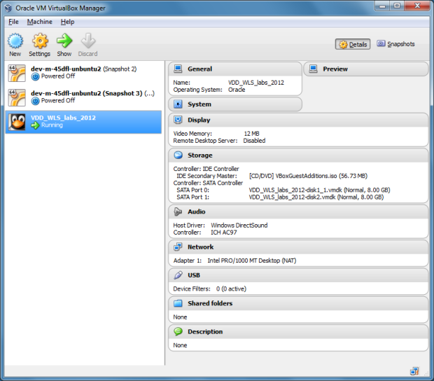 View of Oracle VM VirtualBox Manager for Windows