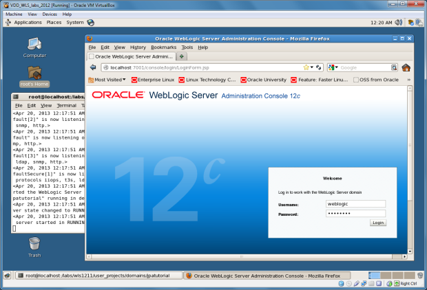 View of Oracle WebLogic 12c Running within VM