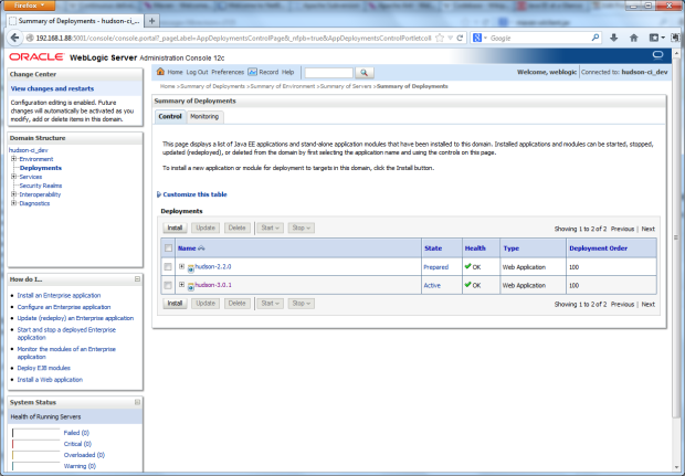 Hudson 3.0.1 Deployed to WLS Domain on VM