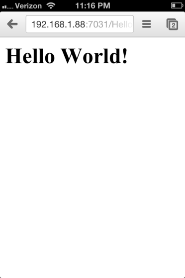 Hello World Application Running from WLS Domain on iPhone