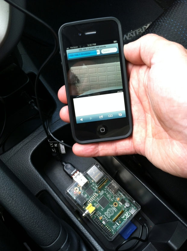 Raspberry Pi in Vehicle with iPhone Preview of Dashboard Camera