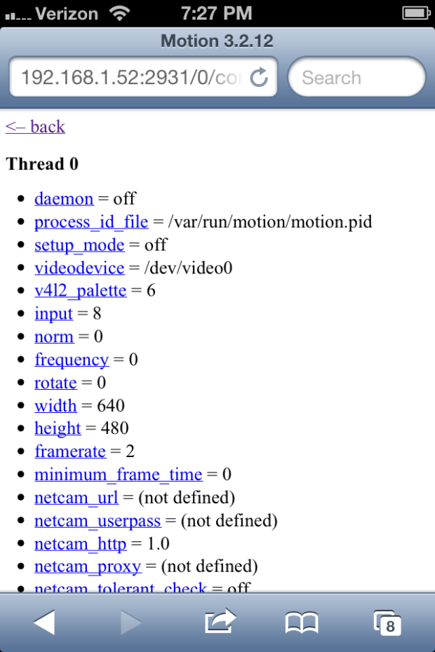 Using Motion's HTTP Based Control on iPhone Mobile Web Browser
