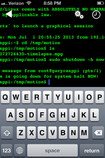 Shutting Down Raspberry Pi Using SSH Terminal iPhone App