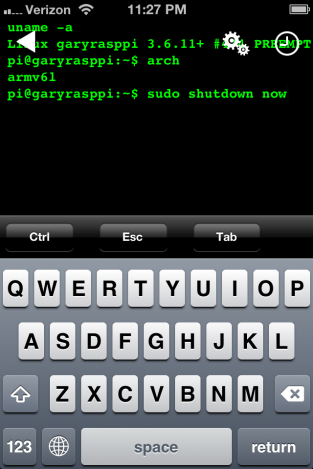Using SSH Terminal for iOS to Shutdown the Pi