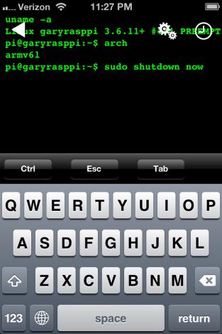 Using SSH Terminal for iOS to Shutdown the Pi