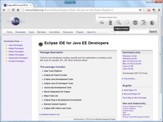 Downloading Eclipse IDE for Java EE Developers