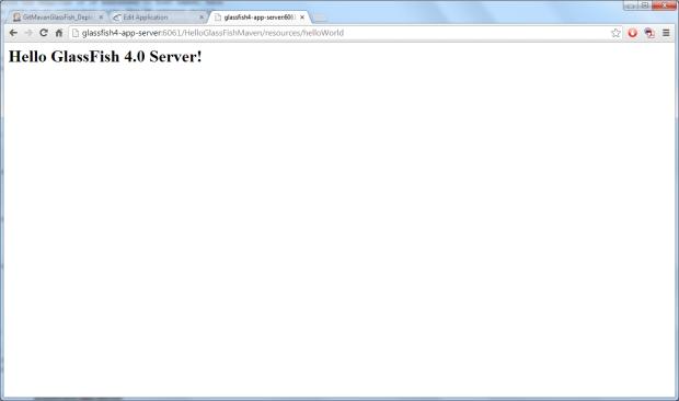 Application Running on GlassFish Server Testing Domain
