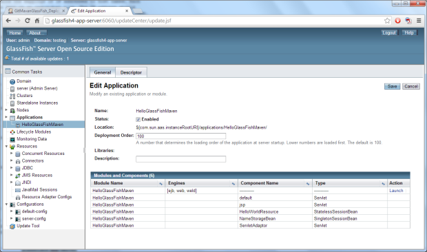 Application Installed on GlassFish Server Testing Domain