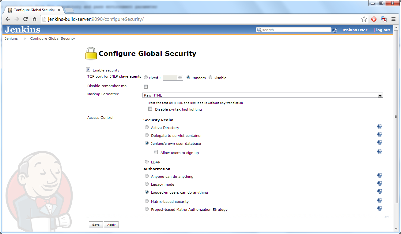 Jenkins' Configure Global Security