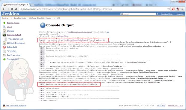Jenkins Deployment Job Console Output