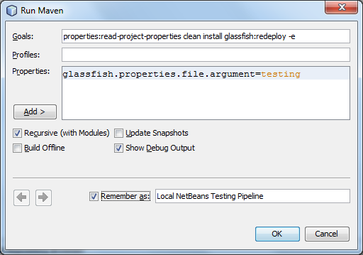 Run Maven within NetBeans to Test Pipeline