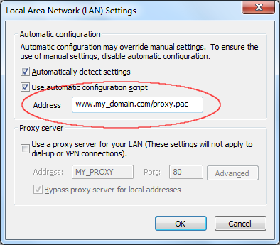 LAN Settings - Using PAC file