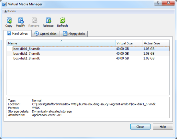 Virtual Media Manager View of VMs