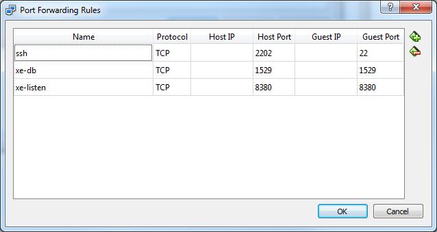 VirtualBox Port Forwarding Rules