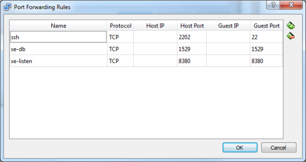 VirtualBox Port Forwarding Rules