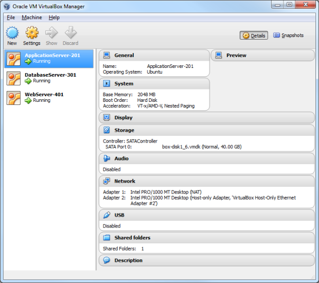 VirtualBox View of Multiple Virtual Machines