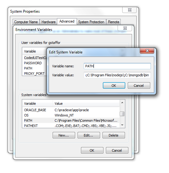 Adding Mongo to the PATH Environment Variable